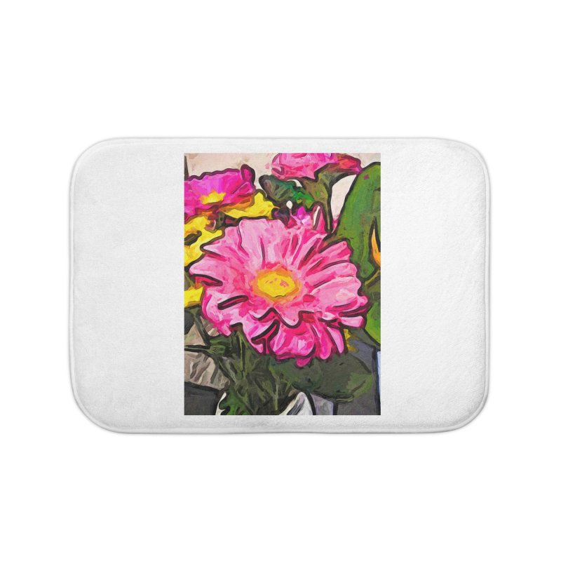 The Pink and Yellow Flowers with the Big Green Leaves Home Bath Mat by jackievano's Artist Shop