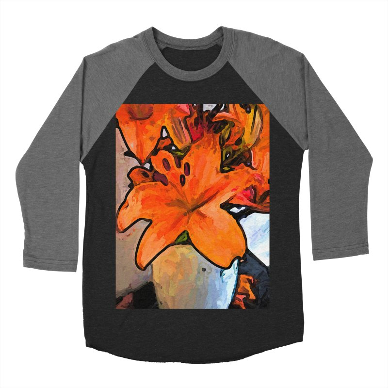 The Orange Lilies in the Mother of Pearl Vase Men's Baseball Triblend T-Shirt by jackievano's Artist Shop