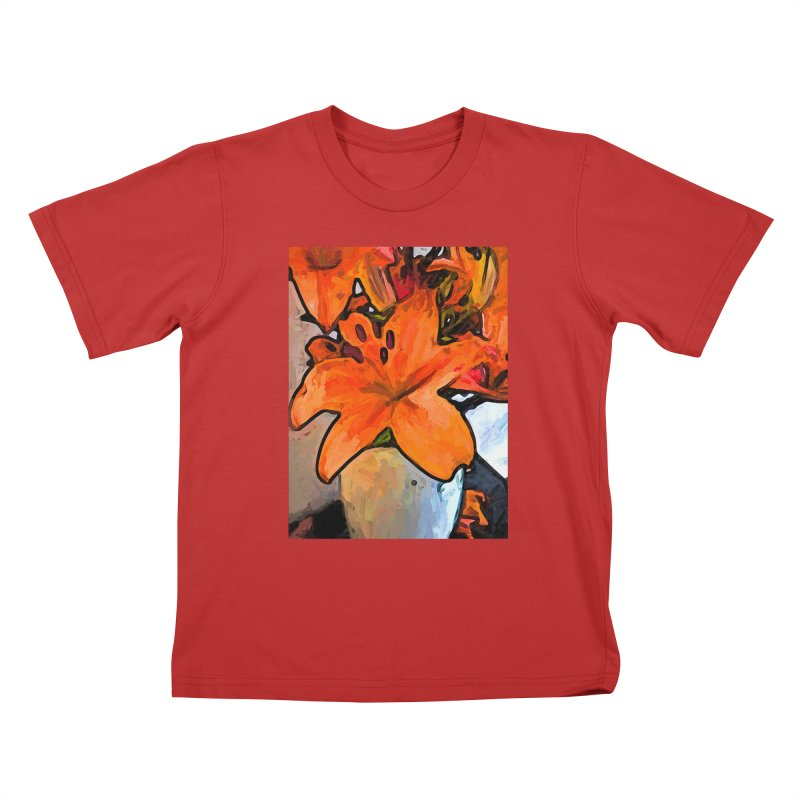 The Orange Lilies in the Mother of Pearl Vase Kids T-Shirt by jackievano's Artist Shop