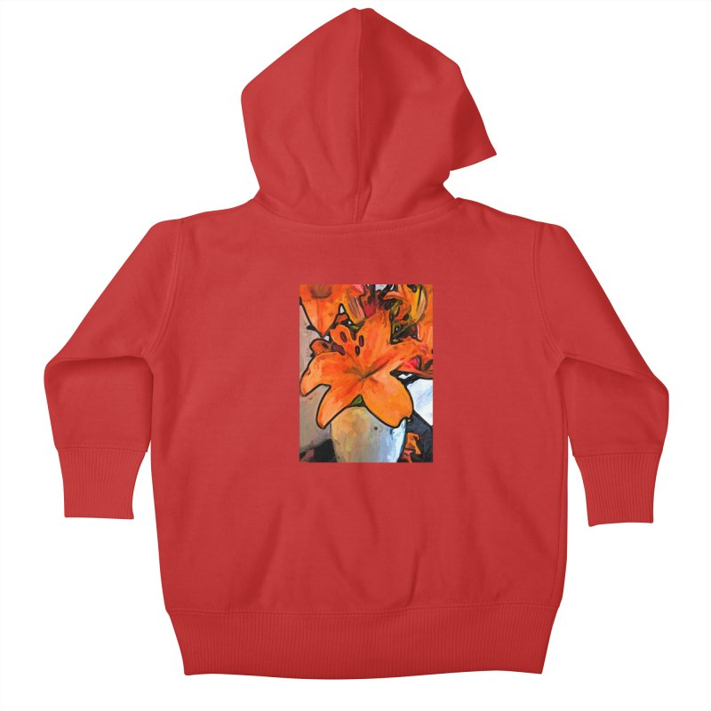 The Orange Lilies in the Mother of Pearl Vase Kids Baby Zip-Up Hoody by jackievano's Artist Shop