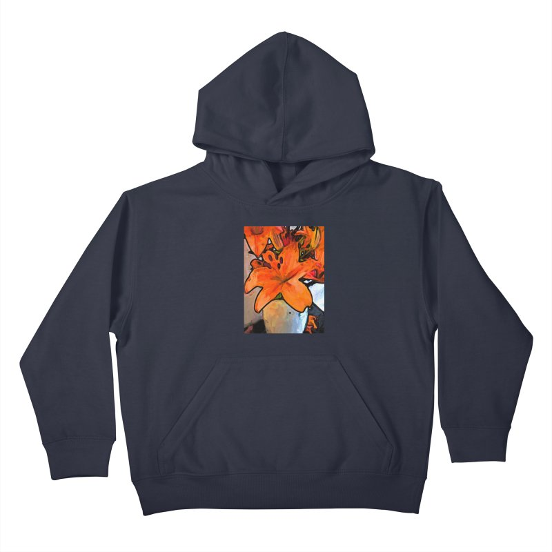 The Orange Lilies in the Mother of Pearl Vase Kids Pullover Hoody by jackievano's Artist Shop