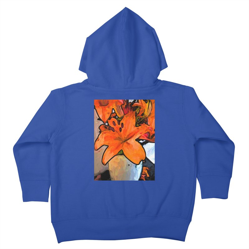 The Orange Lilies in the Mother of Pearl Vase Kids Toddler Zip-Up Hoody by jackievano's Artist Shop