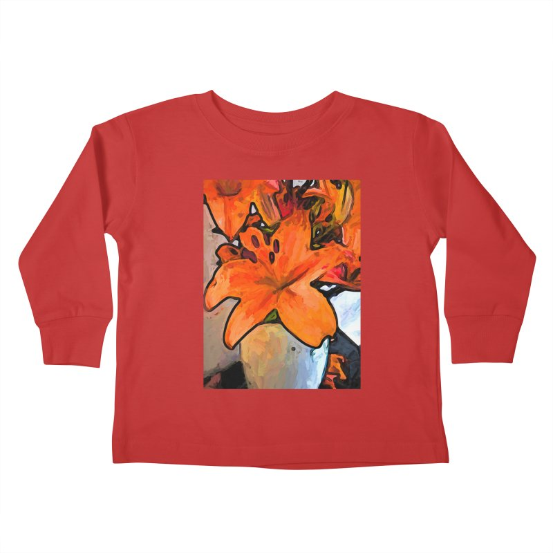 The Orange Lilies in the Mother of Pearl Vase Kids Toddler Longsleeve T-Shirt by jackievano's Artist Shop