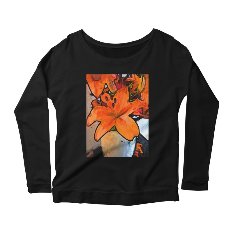 The Orange Lilies in the Mother of Pearl Vase Women's Longsleeve Scoopneck  by jackievano's Artist Shop