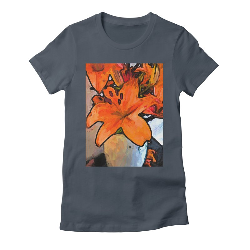 The Orange Lilies in the Mother of Pearl Vase Women's Fitted T-Shirt by jackievano's Artist Shop