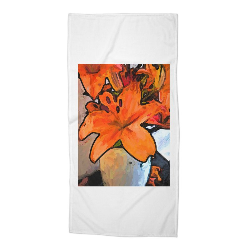 The Orange Lilies in the Mother of Pearl Vase Accessories Beach Towel by jackievano's Artist Shop
