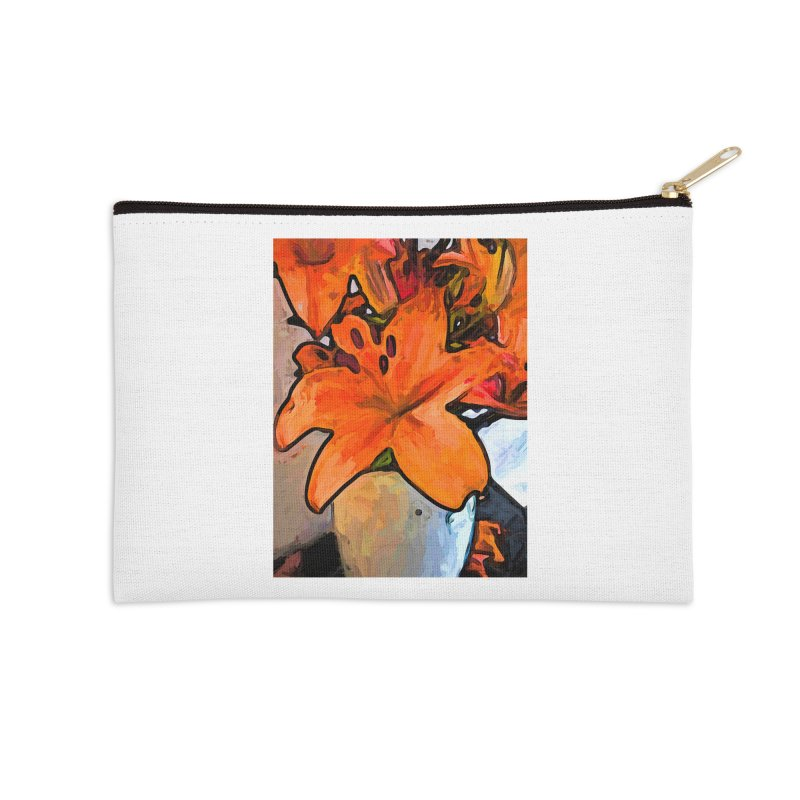 The Orange Lilies in the Mother of Pearl Vase Accessories Zip Pouch by jackievano's Artist Shop