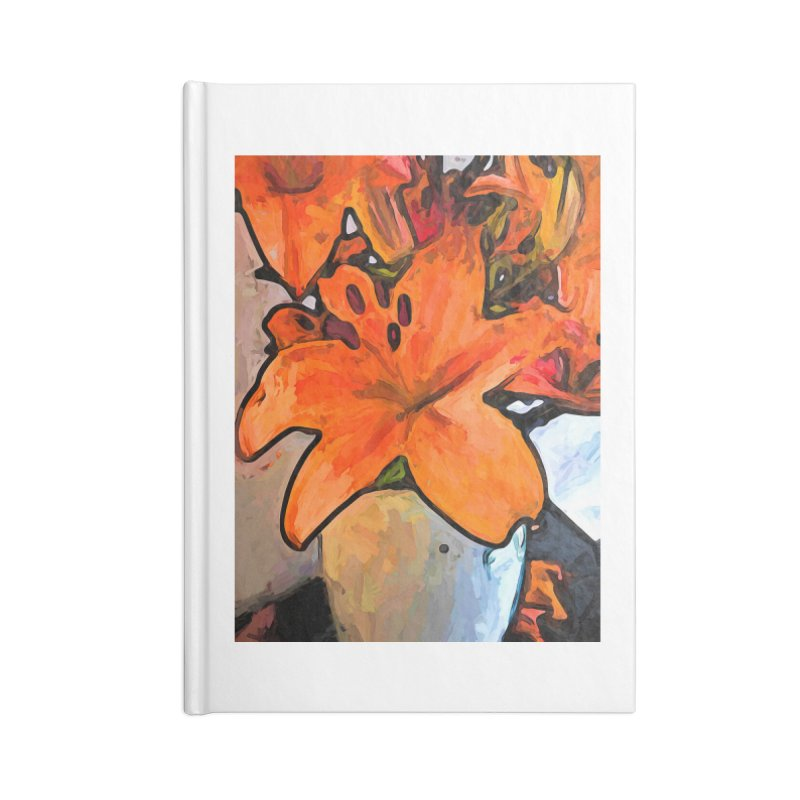 The Orange Lilies in the Mother of Pearl Vase Accessories Notebook by jackievano's Artist Shop