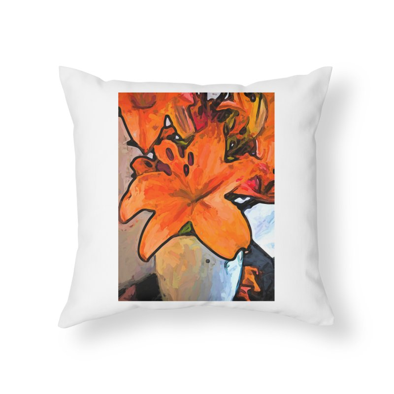 The Orange Lilies in the Mother of Pearl Vase Home Throw Pillow by jackievano's Artist Shop