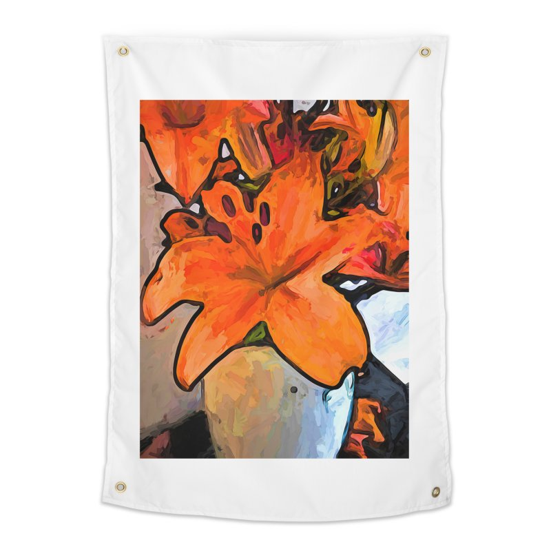 The Orange Lilies in the Mother of Pearl Vase Home Tapestry by jackievano's Artist Shop