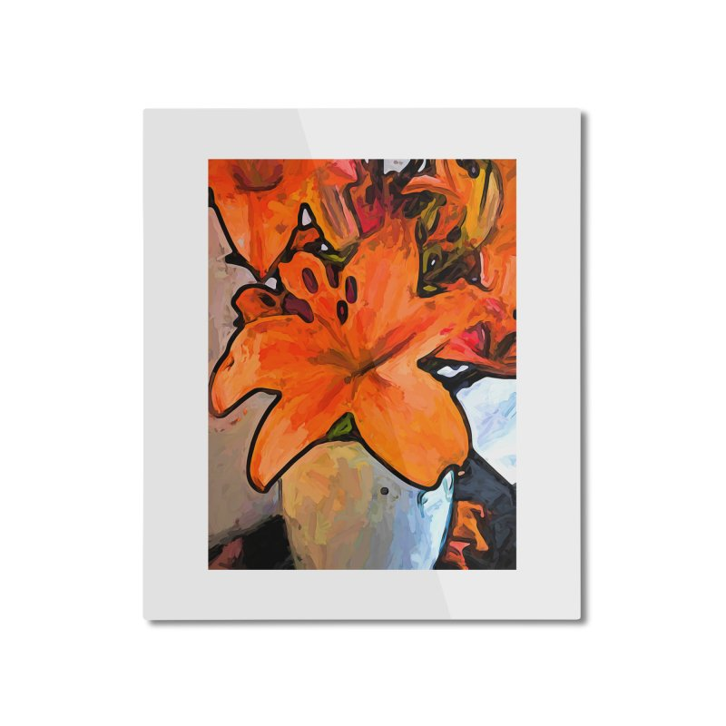 The Orange Lilies in the Mother of Pearl Vase Home Mounted Aluminum Print by jackievano's Artist Shop