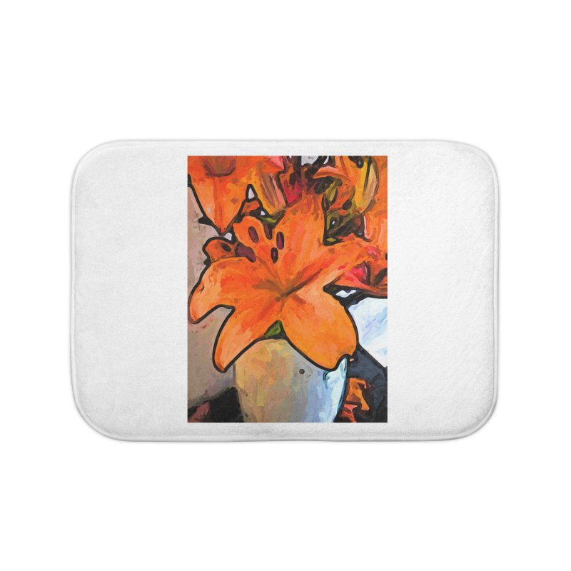 The Orange Lilies in the Mother of Pearl Vase Home Bath Mat by jackievano's Artist Shop