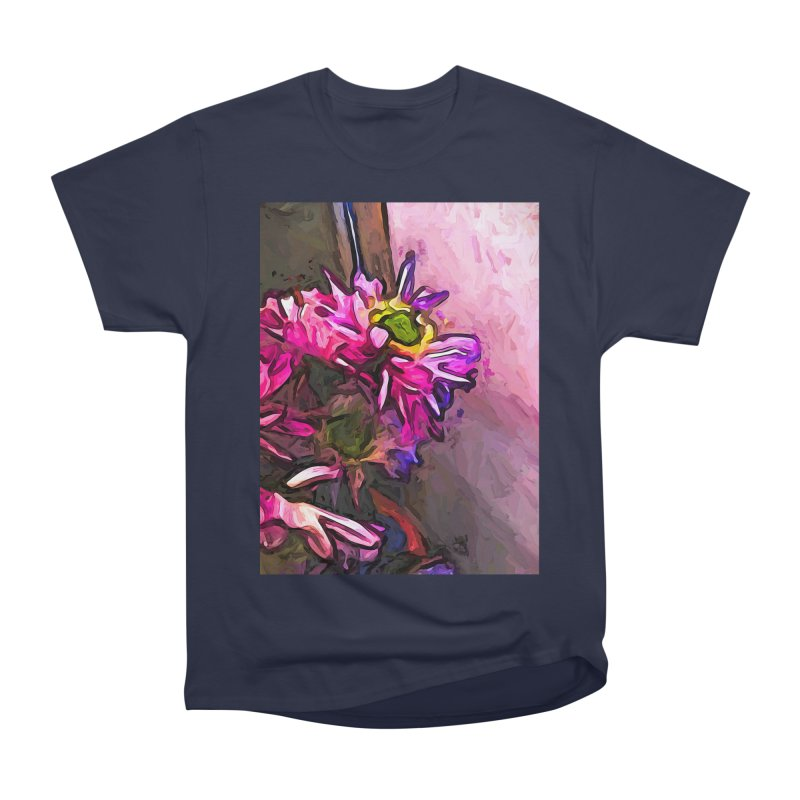 The Pink and Purple Flower by the Pale Pink Wall Men's Classic T-Shirt by jackievano's Artist Shop