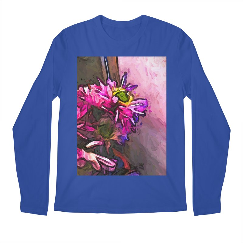 The Pink and Purple Flower by the Pale Pink Wall Men's Longsleeve T-Shirt by jackievano's Artist Shop