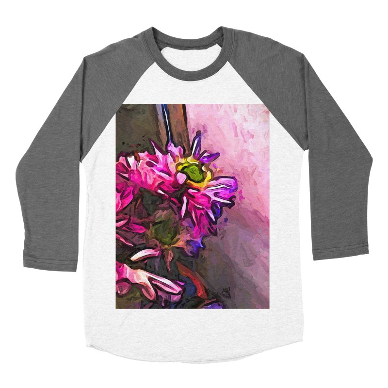 The Pink and Purple Flower by the Pale Pink Wall Women's Baseball Triblend T-Shirt by jackievano's Artist Shop