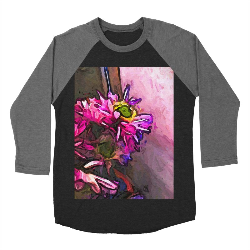 The Pink and Purple Flower by the Pale Pink Wall Men's Baseball Triblend T-Shirt by jackievano's Artist Shop