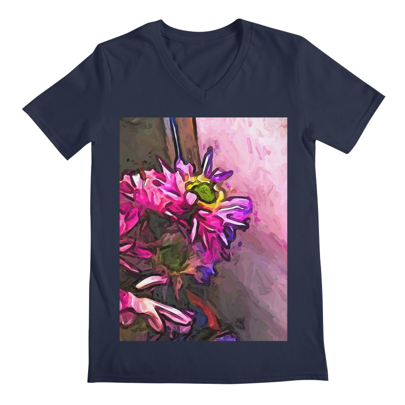 The Pink and Purple Flower by the Pale Pink Wall Men's V-Neck by jackievano's Artist Shop