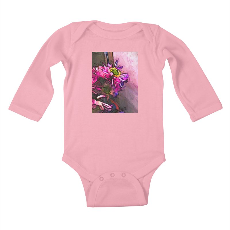 The Pink and Purple Flower by the Pale Pink Wall Kids Baby Longsleeve Bodysuit by jackievano's Artist Shop