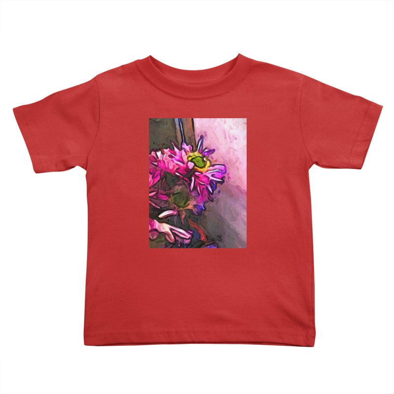 The Pink and Purple Flower by the Pale Pink Wall Kids Toddler T-Shirt by jackievano's Artist Shop