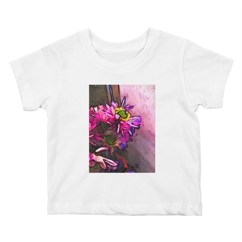 The Pink and Purple Flower by the Pale Pink Wall Kids Baby T-Shirt by jackievano's Artist Shop