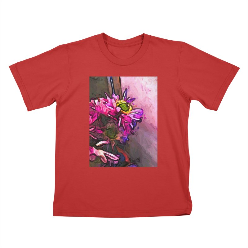 The Pink and Purple Flower by the Pale Pink Wall Kids T-Shirt by jackievano's Artist Shop
