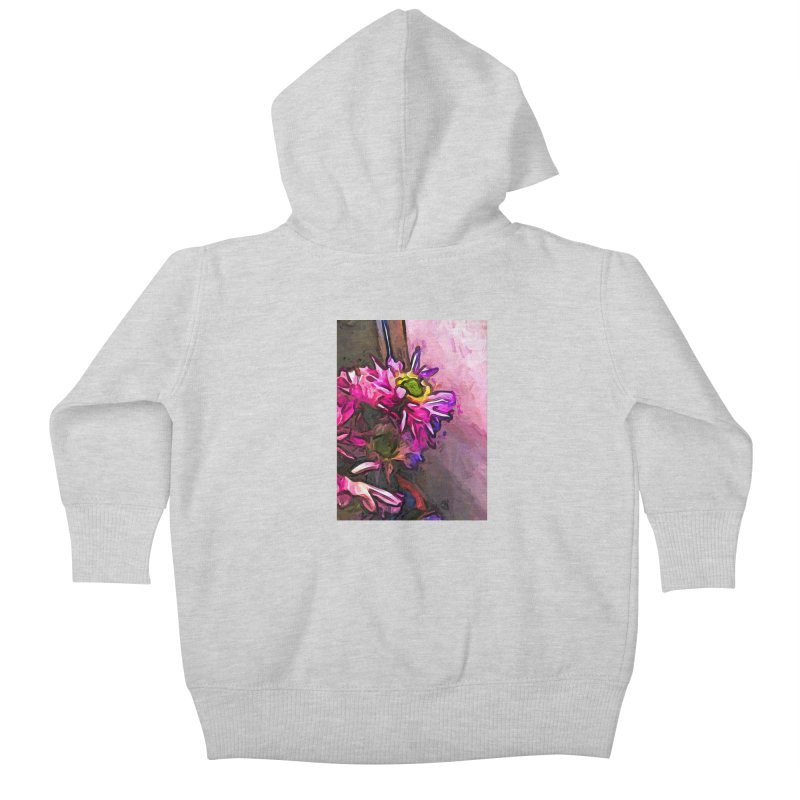 The Pink and Purple Flower by the Pale Pink Wall Kids Baby Zip-Up Hoody by jackievano's Artist Shop