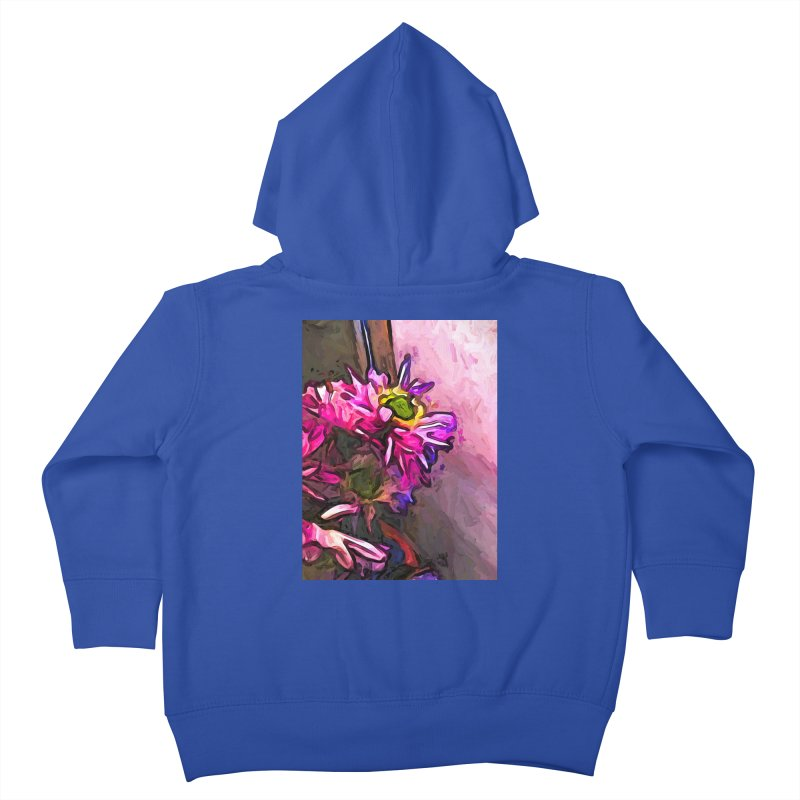 The Pink and Purple Flower by the Pale Pink Wall Kids Toddler Zip-Up Hoody by jackievano's Artist Shop