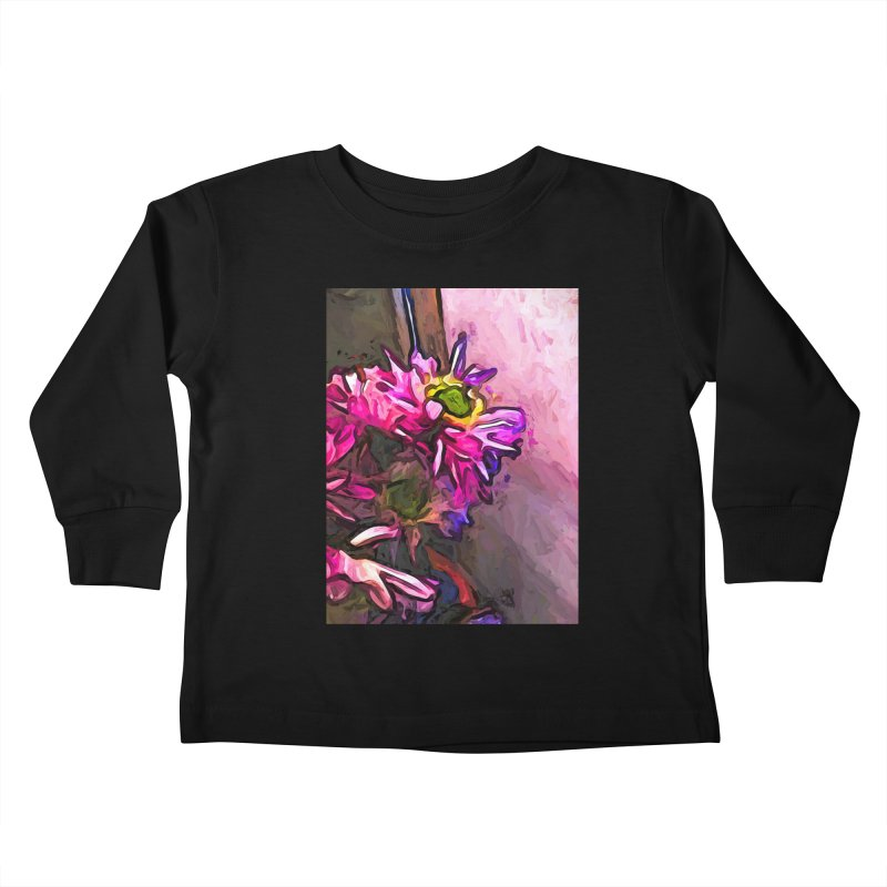 The Pink and Purple Flower by the Pale Pink Wall Kids Toddler Longsleeve T-Shirt by jackievano's Artist Shop