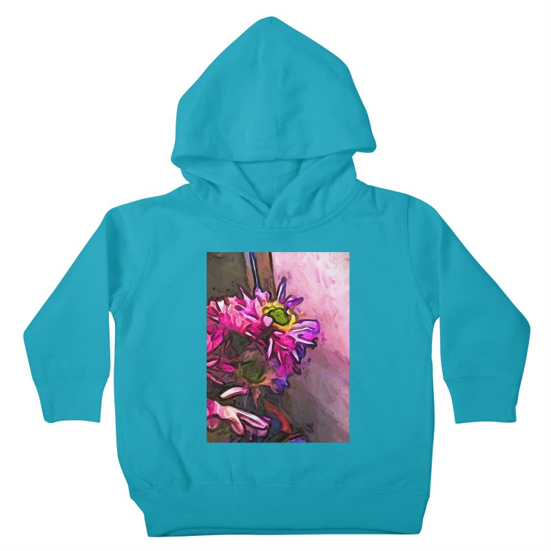 The Pink and Purple Flower by the Pale Pink Wall Kids Toddler Pullover Hoody by jackievano's Artist Shop