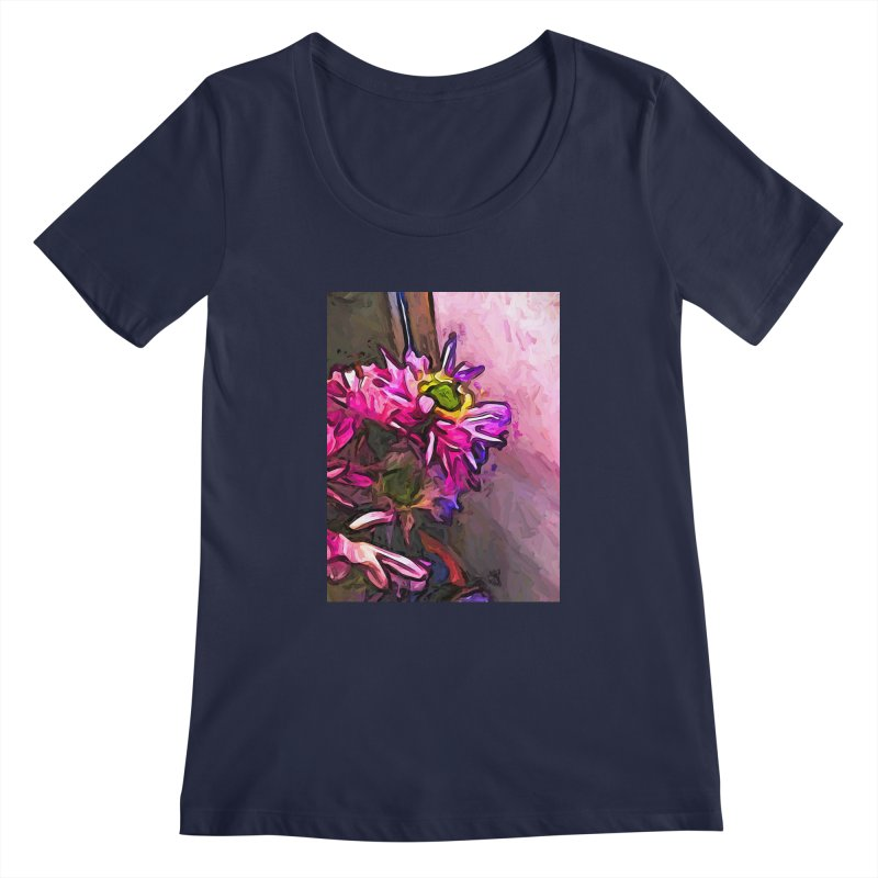 The Pink and Purple Flower by the Pale Pink Wall Women's Scoopneck by jackievano's Artist Shop