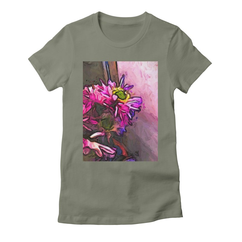 The Pink and Purple Flower by the Pale Pink Wall Women's Fitted T-Shirt by jackievano's Artist Shop