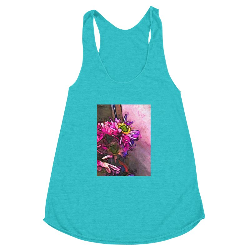 The Pink and Purple Flower by the Pale Pink Wall Women's Racerback Triblend Tank by jackievano's Artist Shop