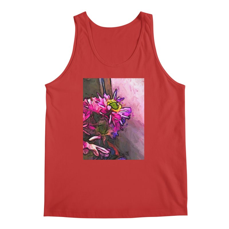 The Pink and Purple Flower by the Pale Pink Wall Men's Tank by jackievano's Artist Shop