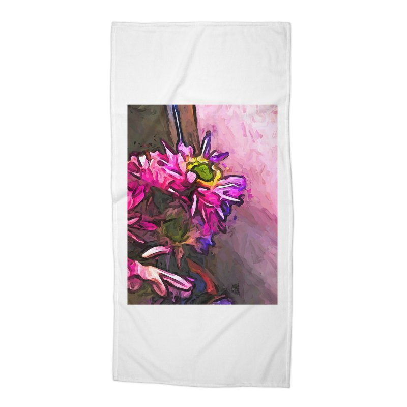 The Pink and Purple Flower by the Pale Pink Wall Accessories Beach Towel by jackievano's Artist Shop