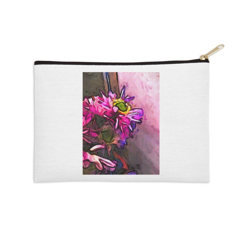 The Pink and Purple Flower by the Pale Pink Wall Accessories Zip Pouch by jackievano's Artist Shop