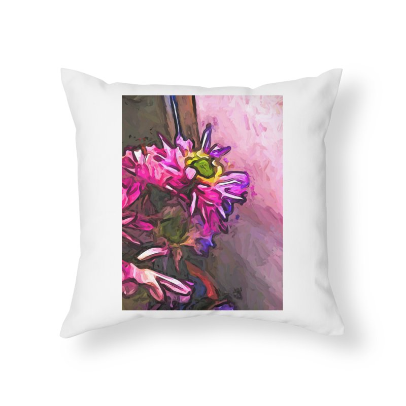 The Pink and Purple Flower by the Pale Pink Wall Home Throw Pillow by jackievano's Artist Shop