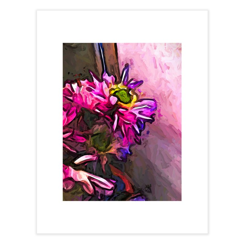 The Pink and Purple Flower by the Pale Pink Wall Home Fine Art Print by jackievano's Artist Shop