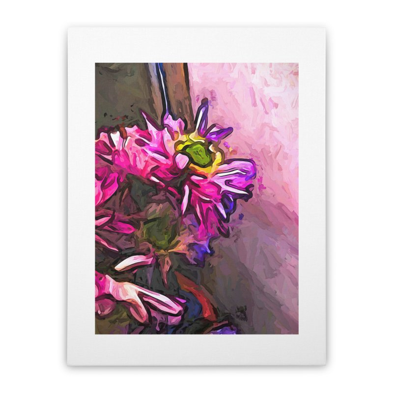 The Pink and Purple Flower by the Pale Pink Wall Home Stretched Canvas by jackievano's Artist Shop