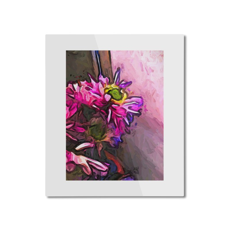The Pink and Purple Flower by the Pale Pink Wall Home Mounted Aluminum Print by jackievano's Artist Shop