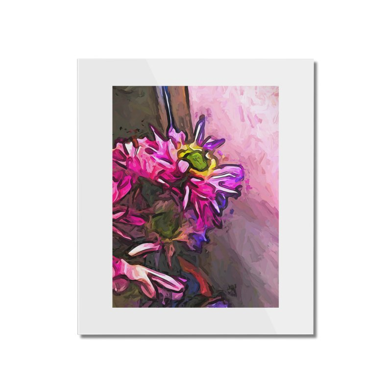 The Pink and Purple Flower by the Pale Pink Wall Home Mounted Acrylic Print by jackievano's Artist Shop