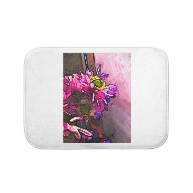 The Pink and Purple Flower by the Pale Pink Wall Home Bath Mat by jackievano's Artist Shop