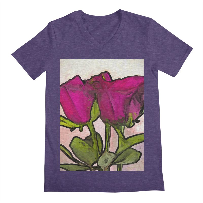 The Roses with the Green Stems and Leaves Men's V-Neck by jackievano's Artist Shop