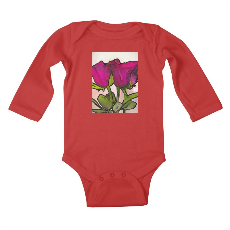 The Roses with the Green Stems and Leaves Kids Baby Longsleeve Bodysuit by jackievano's Artist Shop