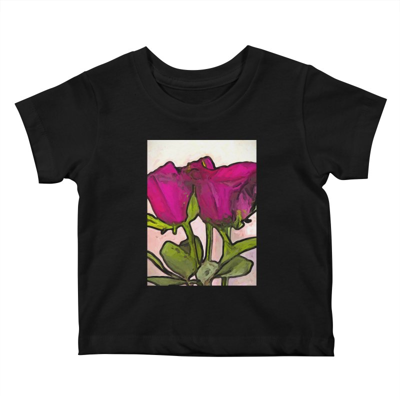 The Roses with the Green Stems and Leaves Kids Baby T-Shirt by jackievano's Artist Shop