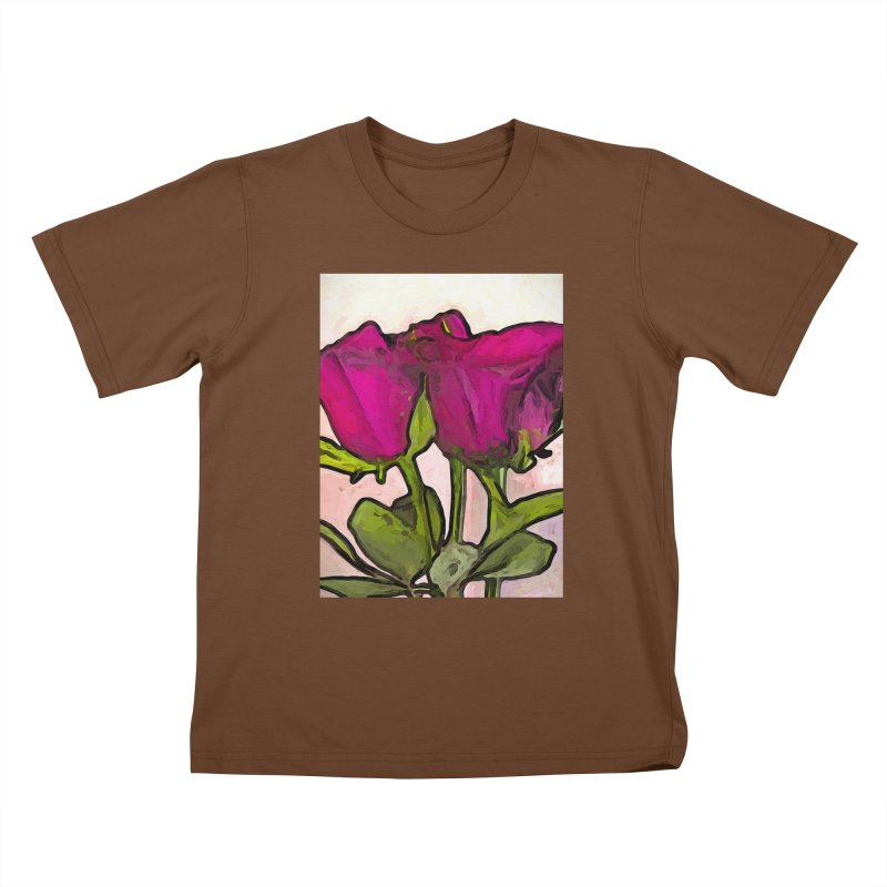 The Roses with the Green Stems and Leaves Kids T-Shirt by jackievano's Artist Shop