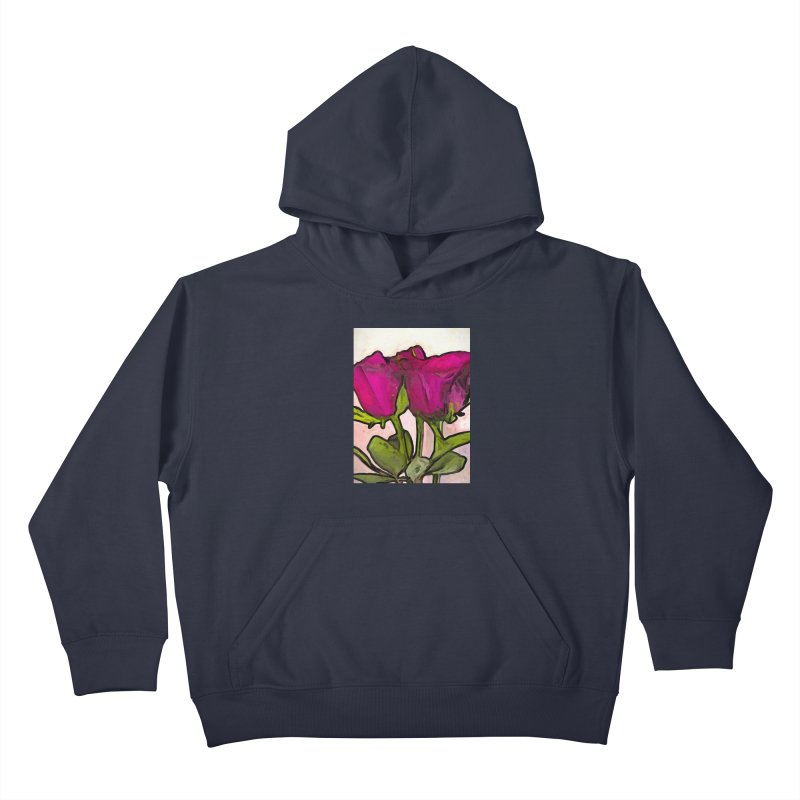 The Roses with the Green Stems and Leaves Kids Pullover Hoody by jackievano's Artist Shop