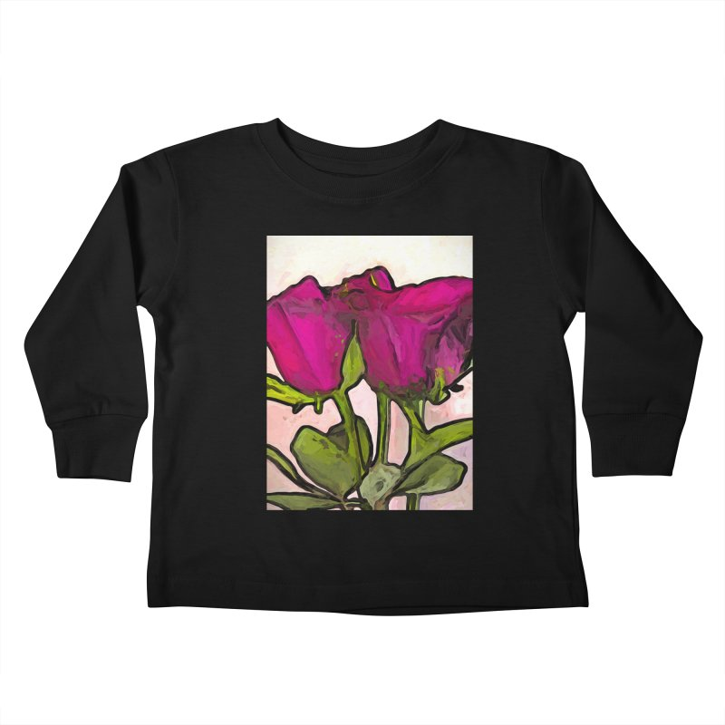 The Roses with the Green Stems and Leaves Kids Toddler Longsleeve T-Shirt by jackievano's Artist Shop