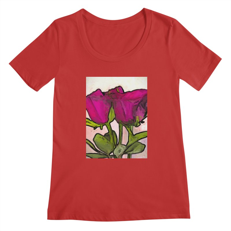 The Roses with the Green Stems and Leaves Women's Scoopneck by jackievano's Artist Shop