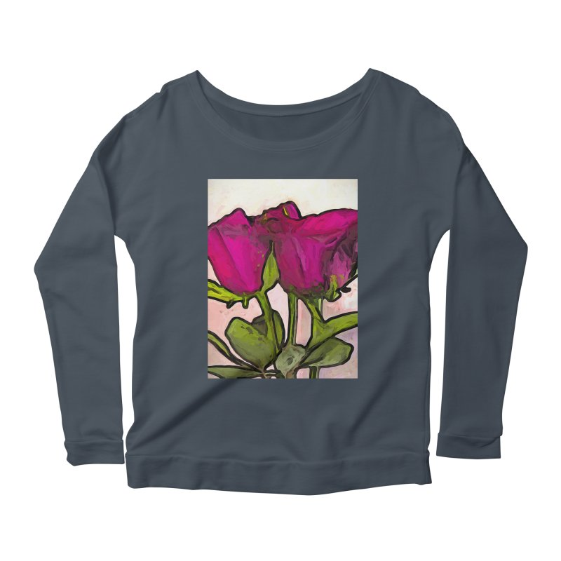 The Roses with the Green Stems and Leaves Women's Longsleeve Scoopneck  by jackievano's Artist Shop