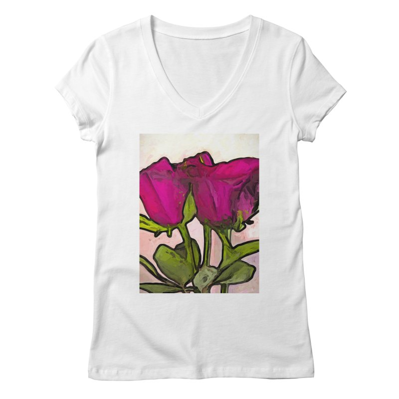 The Roses with the Green Stems and Leaves Women's V-Neck by jackievano's Artist Shop